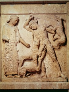 Diana and Actaeon (marble metope, Hellenic, Sicily, c. 460 B.C.)