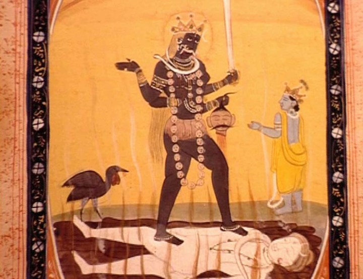 Kālī astride Śiva (gouache on paper, India, date uncertain; from a private collection — used with permission)