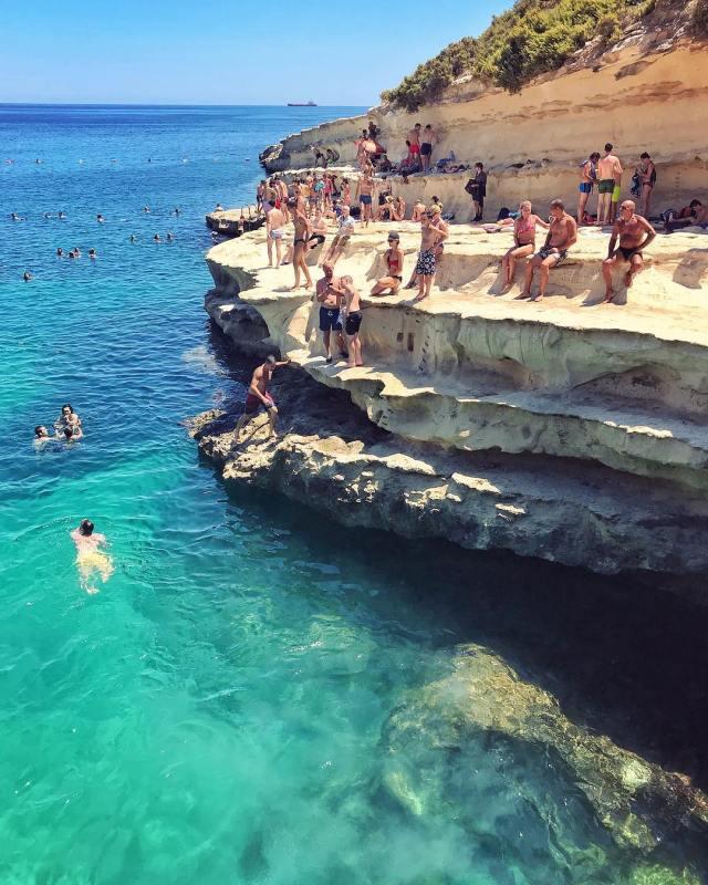 Afternoon at St Peters Pool Marsaxlokk  Beach Malta ShotOniPhonehellip