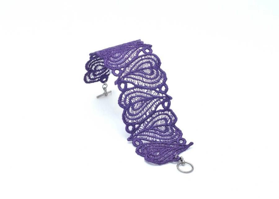 Lace Bracelet Moroccan Heart in Purple