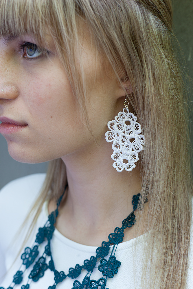 Lace earrings and necklace