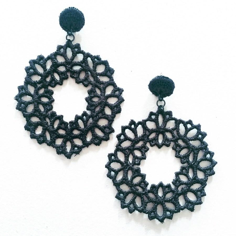 Emerald Lotus lace drop earrings