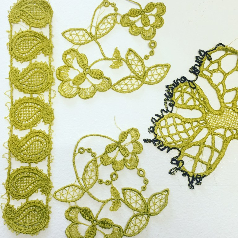 Samples of lace including Inka lace test