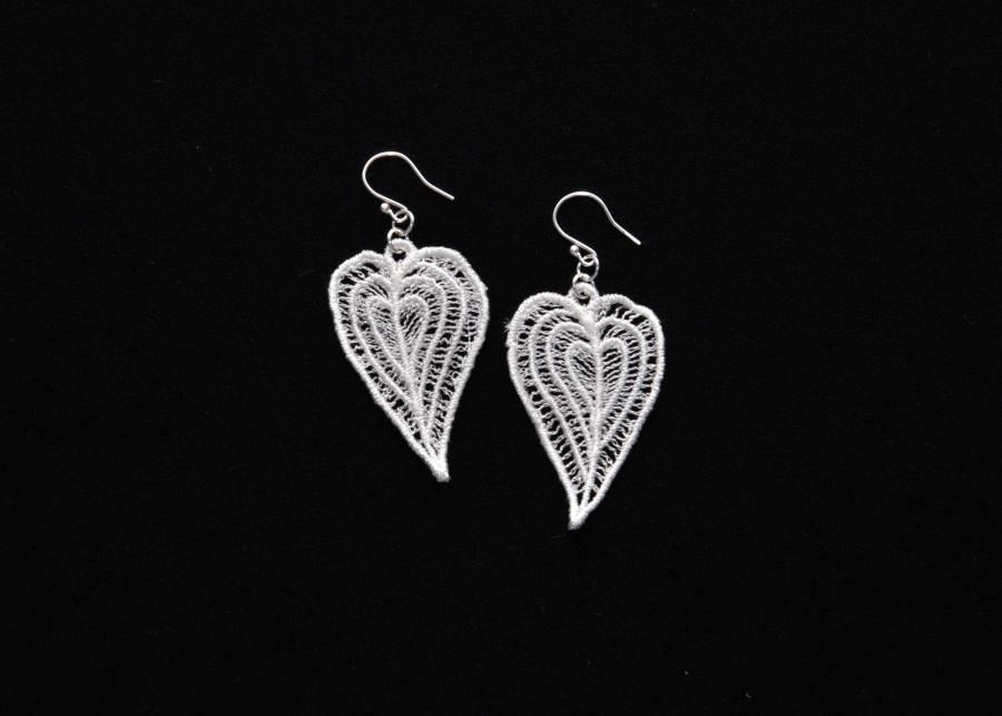 Moroccan Heart lace earrings in soft white