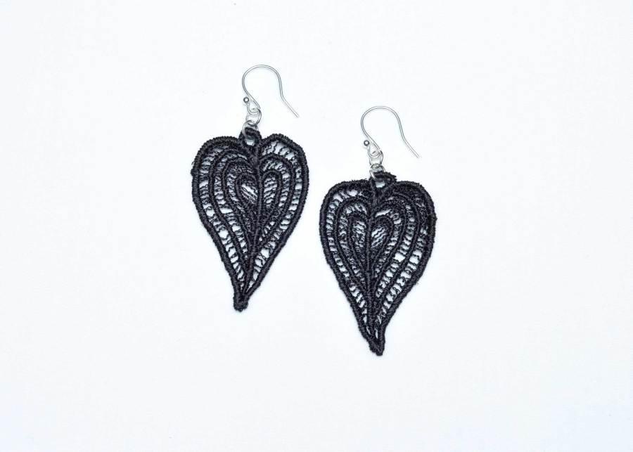 Moroccan Heart lace earrings in soft black
