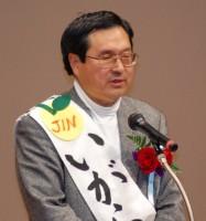 決意表明する、いがらし仁市長候補=8日、東京都八王子市(「しんぶん赤旗」提供)