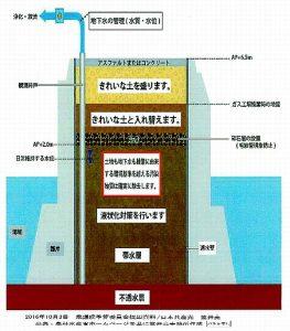 東京都の豊洲市場用地・土壌汚染対策(概略図) 農水省審議会(2016年3月25日)提出資料