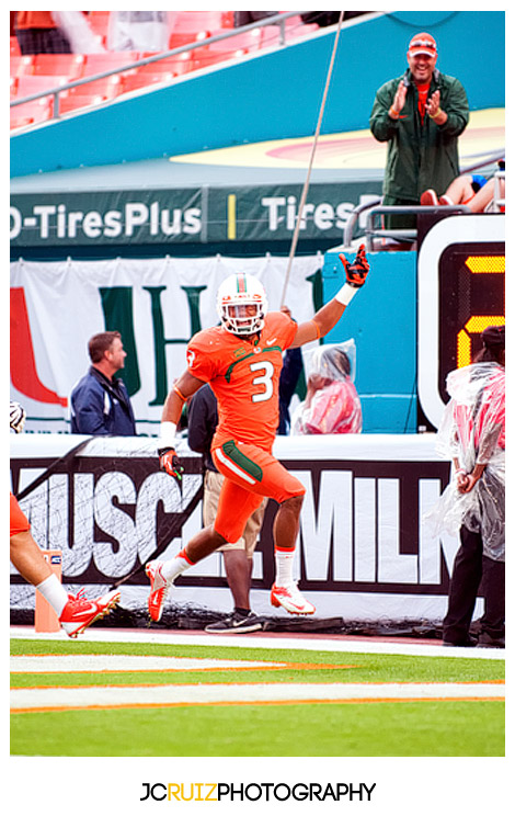 Hurricanes DB #3, Tracy Howard, celebrates a touchdown
