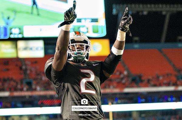 Joseph Yearby celebrates his touchdown