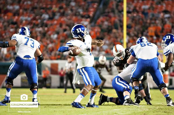 Duke QB looks to make a pass