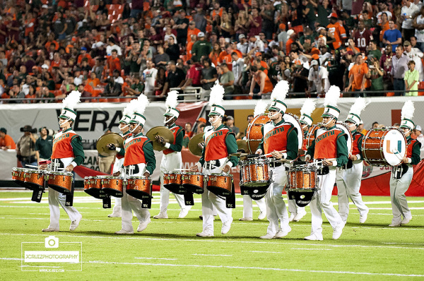 Miami Hurricanes Marching Band lead the pre-game ceremony