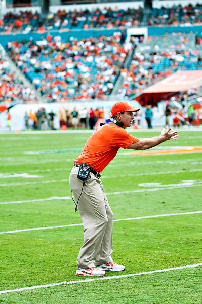 Clemson head coach, Dabo Swinney, reacts to a no call by the officials