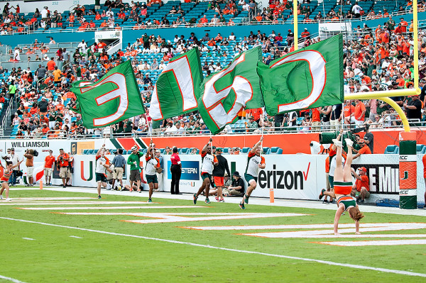 Hurricane cheerleaders run in the endzone after a touchdown