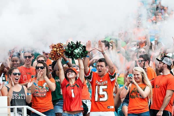 The Hurricanes student section get sprayed with Smoke from Sebastian