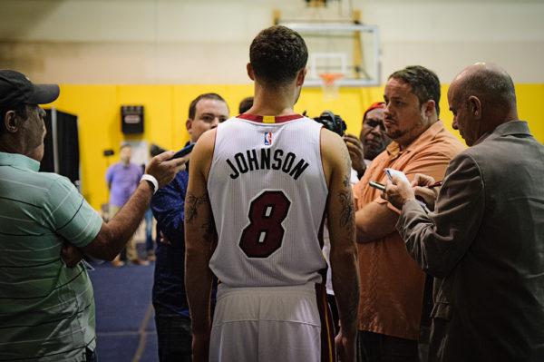 Tyler Johnson talks to the media