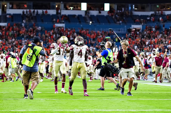 Dalvin Cook celebrates after Florida State beats Miami