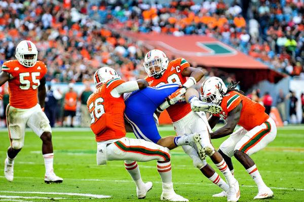 Hurricanes defense tackles Duke TE, David Helm