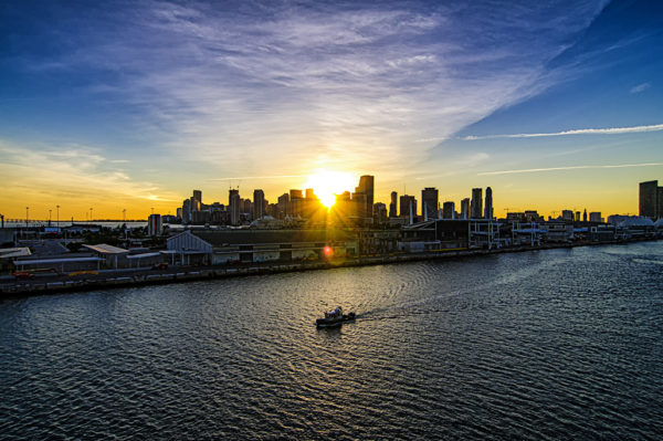 Miami skyline during sunset from the Disney Magic as it leaves the Port of Miami