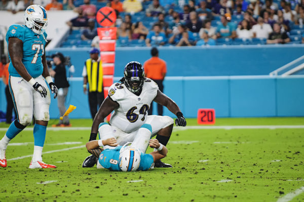 A roughing the passer penalty comes flying in after the play