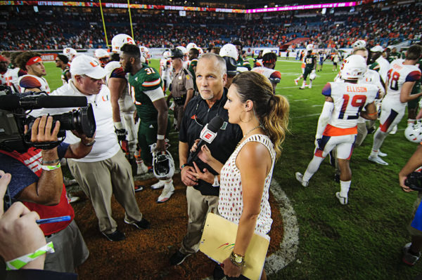 Mark Richt talks to ESPN after the win