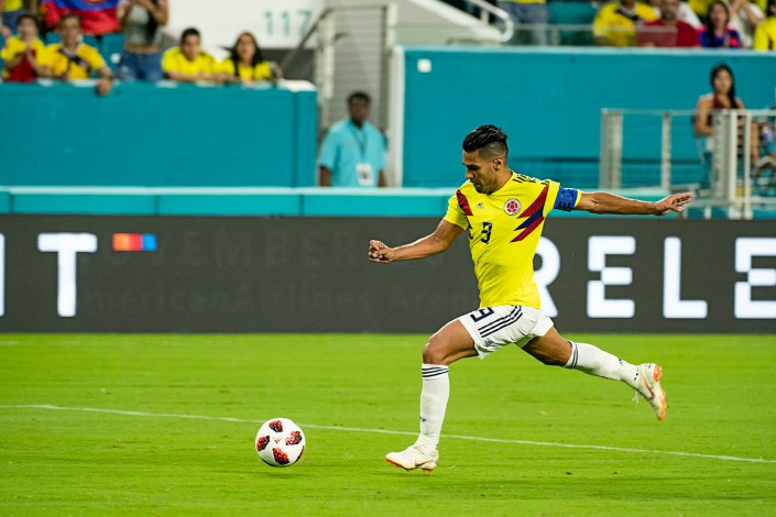 Falcao advances the ball against Venezuela