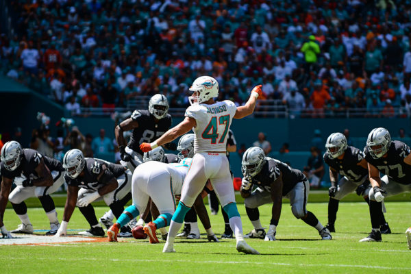 Miami Dolphins linebacker Kiko Alonso (47) calls out the assignments