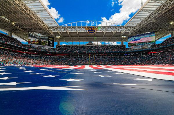 The American flag at Hard Rock Stadium