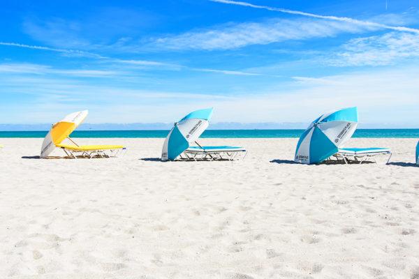 beach chairs and umbrellas
