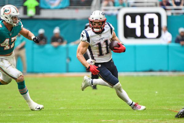 New England Patriots wide receiver Julian Edelman (11) runs after a catch