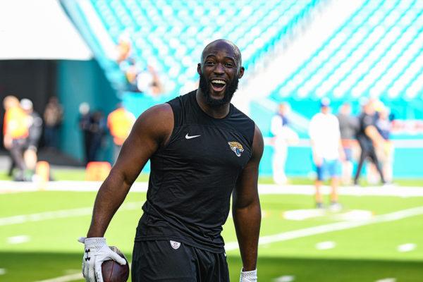 Jacksonville Jaguars running back Leonard Fournette (27) shares a laugh during warmups