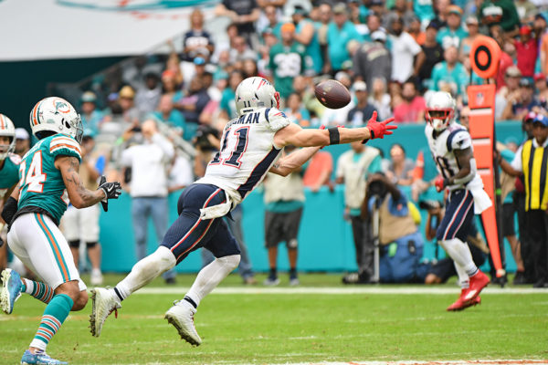 New England Patriots wide receiver Julian Edelman (11) leaps for a pass