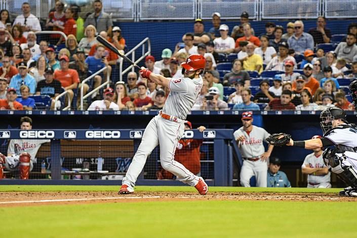 Philadelphia Phillies right fielder Bryce Harper (3) hits a double