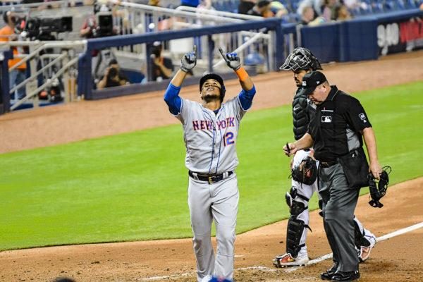 New York Mets center fielder Juan Lagares #12 celebrates a homerun