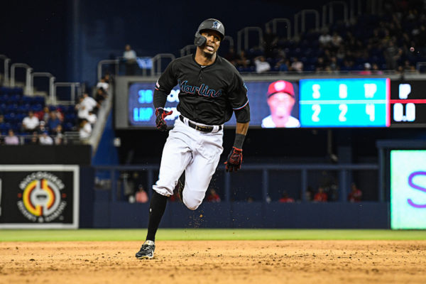 Miami Marlins right fielder Rosell Herrera #5