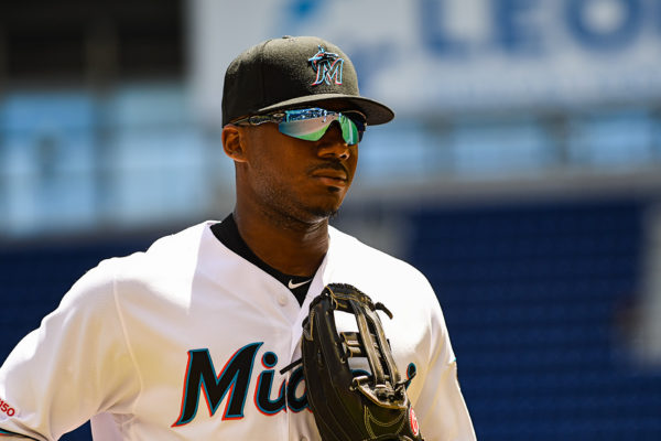 Miami Marlins center fielder Lewis Brinson #9