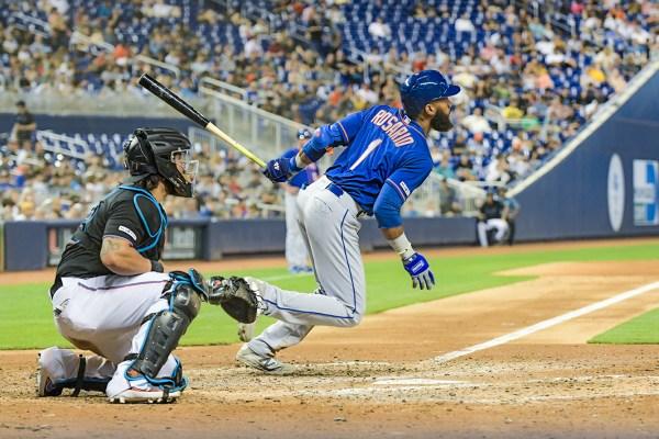 New York Mets shortstop Amed Rosario #1 - NY Mets vs. Miami Marlins at Marlins Park