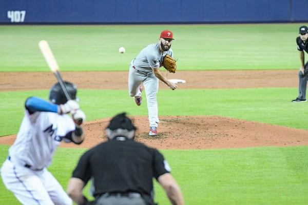 Philadelphia Phillies starting pitcher Jake Arrieta #49 - Philadelphia Phillies vs. Miami Marlins at Marlins Park