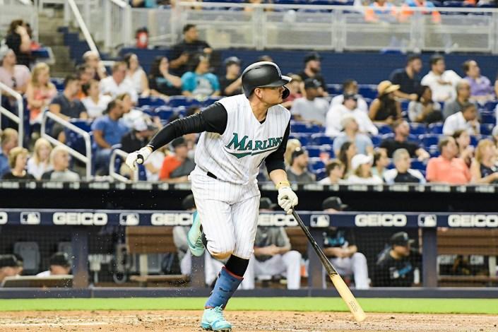 Miami Marlins shortstop Miguel Rojas #19 - Arizona Diamondbacks vs. Miami Marlins at Marlins Park