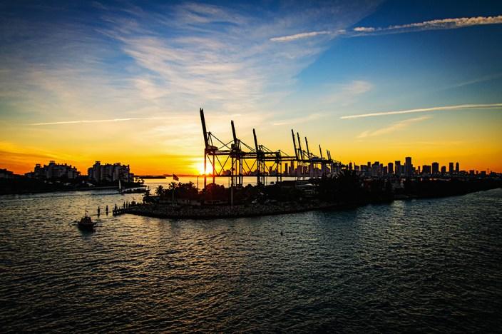 Port of Miami sunset