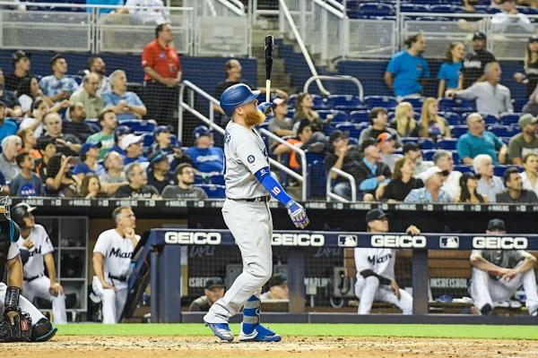 LA Dodgers third baseman Justin Turner (10) hits a homerun