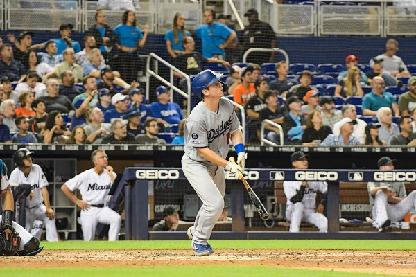 LA Dodgers catcher Will Smith (16) watches his homerun