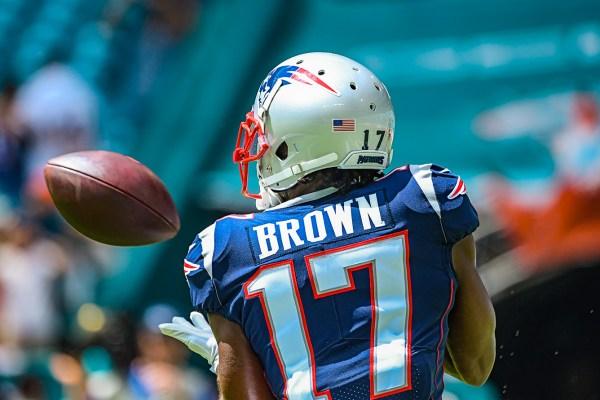 New England Patriots wide receiver Antonio Brown #17 | New England Patriots vs. Miami Dolphins | September 15, 2019 | Hard Rock Stadium