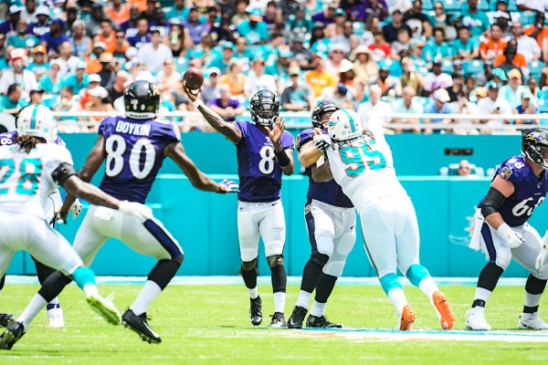 Baltimore Ravens quarterback Lamar Jackson (8) | Baltimore Ravens vs. Miami Dolphins | September 8, 2019 | Hard Rock Stadium