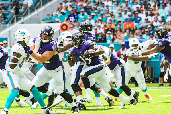 Baltimore Ravens running back Gus Edwards (35) | Baltimore Ravens vs. Miami Dolphins | September 8, 2019 | Hard Rock Stadium