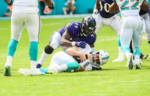 Baltimore Ravens outside linebacker Matt Judon (99) sacks Miami Dolphins quarterback Josh Rosen (3) | Baltimore Ravens vs. Miami Dolphins | September 8, 2019 | Hard Rock Stadium