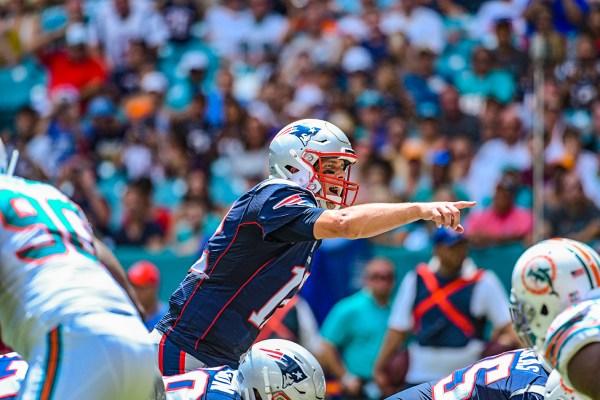 New England Patriots quarterback Tom Brady #12 calls out the defense | New England Patriots vs. Miami Dolphins | September 15, 2019 | Hard Rock Stadium