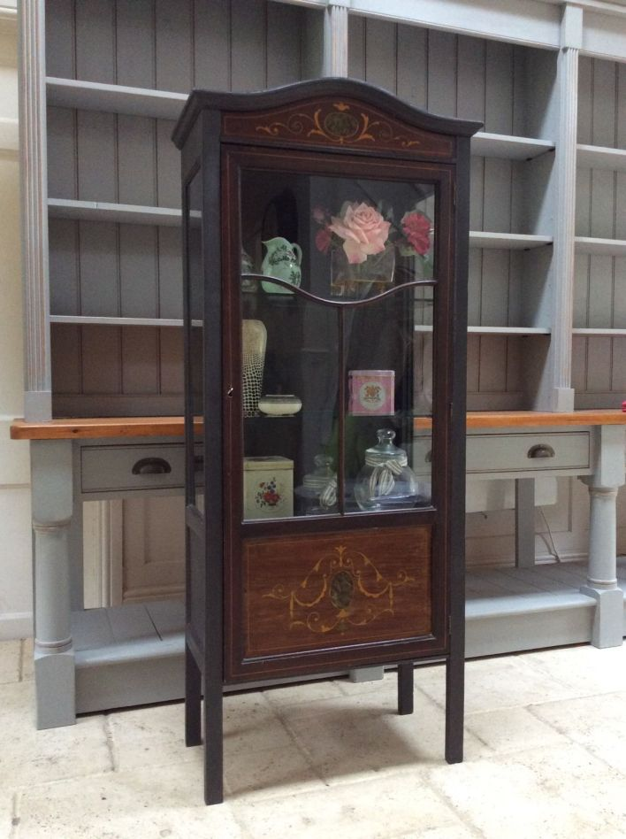 Vintage Glazed Display Cabinet Bookcase Black Painted Glass Marquetry - Antique Display Cabinets Uk Www.cintronbeveragegroup.com