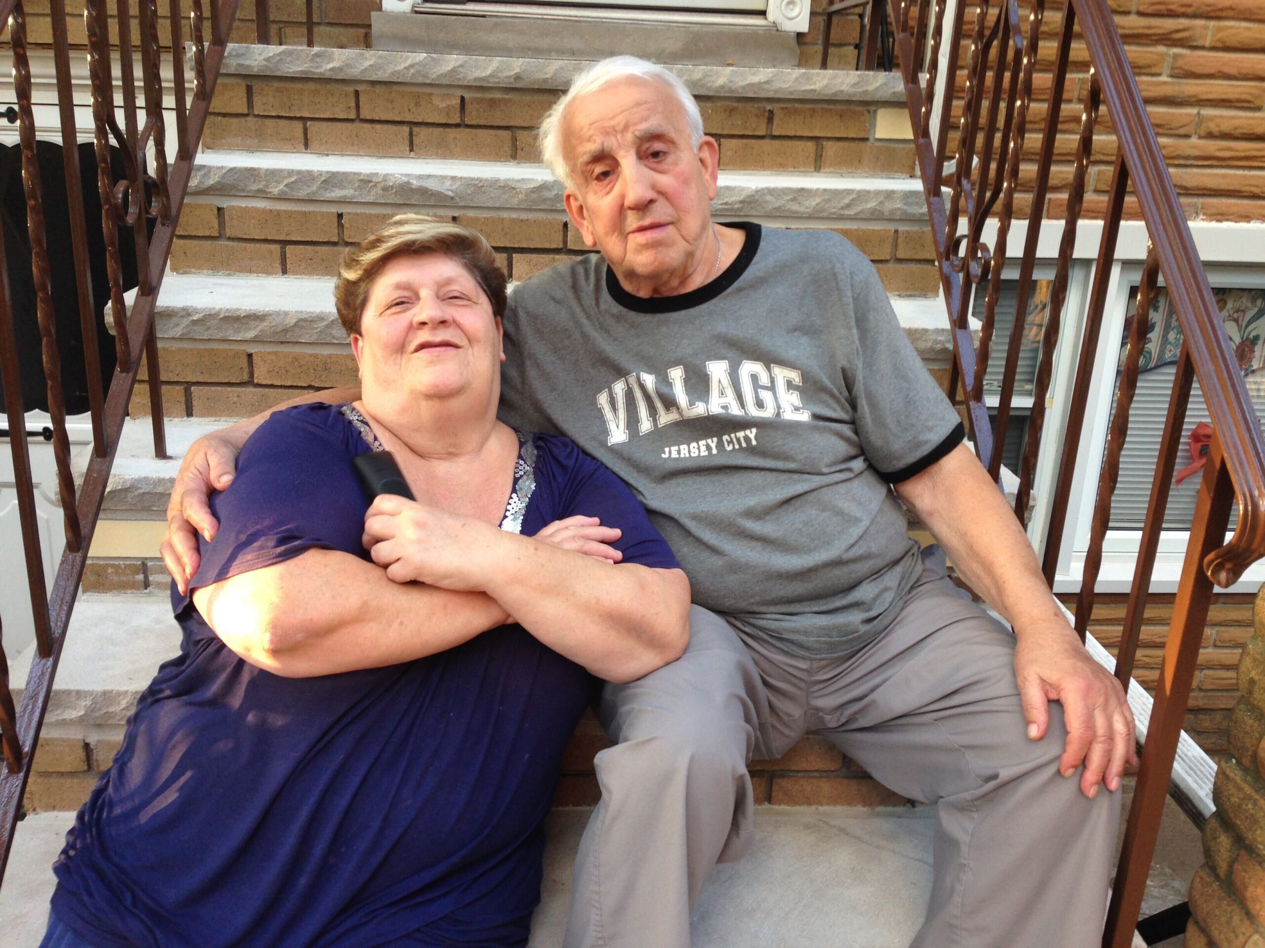 Tina and Tony Lambiase on their front stoop