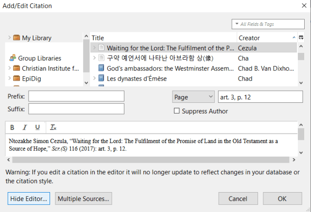 Zotero edit citation dialog with the manual editor shown