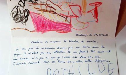 La lettre d'excuse d'une fillette qui a volé un livre